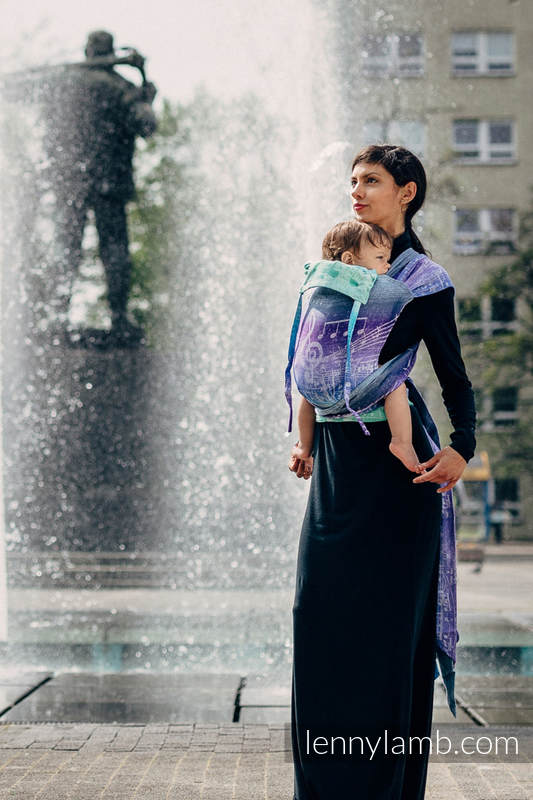WRAP-TAI carrier Mini with hood, jacquard weave,  65% cotton, 35% linen - SYMPHONY PURE JOY #babywearing