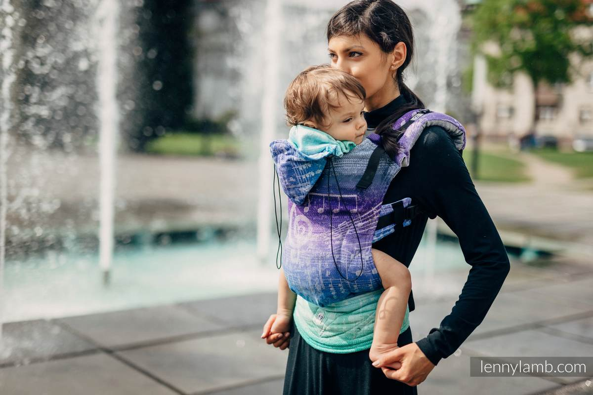 Ergonomic Carrier, Toddler Size, jacquard weave, 65% cotton 35% linen - wrap conversion from SYMPHONY PURE JOY, Second Generation #babywearing