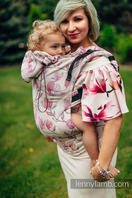 Ergonomic Carrier, Toddler Size, jacquard weave 100% cotton - MAGNOLIA - Second Generation #babywearing