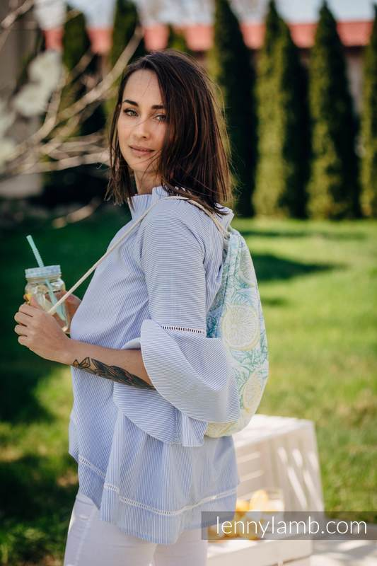 Sackpack made of wrap fabric (100% cotton) -  FRESH LEMON - standard size 32cmx43cm  #babywearing