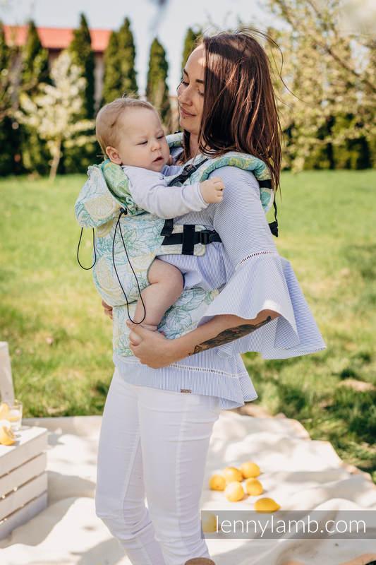 Nosidełko Ergonomiczne z tkaniny żakardowej 100% bawełna , Toddler Size, FRESH LEMON - Druga Generacja #babywearing