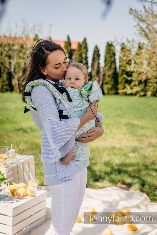 Nosidełko Ergonomiczne z tkaniny żakardowej 100% bawełna , Baby Size, FRESH LEMON - Druga Generacja #babywearing