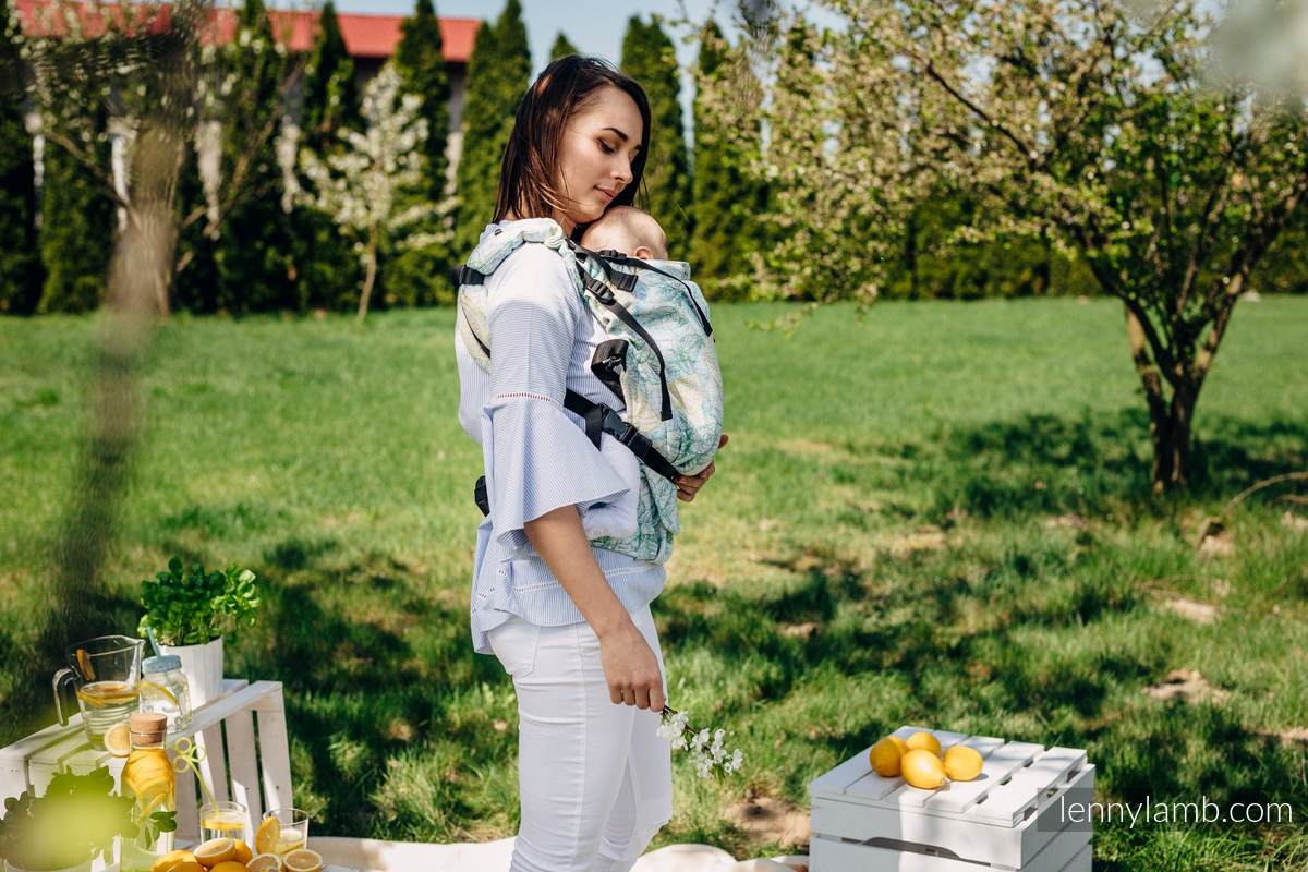 LennyUp Carrier, Standard Size, jacquard weave 100% cotton - FRESH LEMON #babywearing