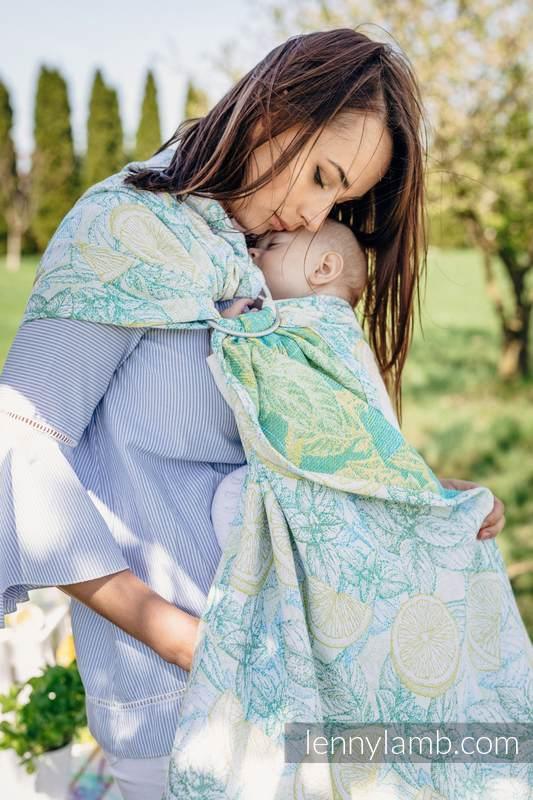 Ringsling, Jacquard Weave (100% cotton) - with gathered shoulder - FRESH LEMON  - long 2.1m #babywearing