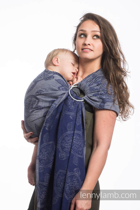 Ringsling, Jacquard Weave (100% cotton) - with gathered shoulder - SEA ADVENTURE - CALM BAY - long 2.1m #babywearing
