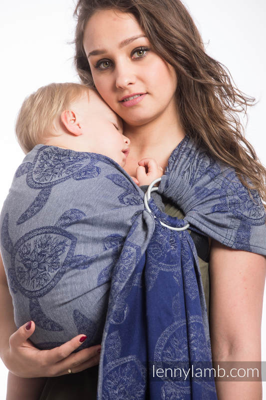 Ringsling, Jacquard Weave (100% cotton) - with gathered shoulder - SEA ADVENTURE - CALM BAY #babywearing
