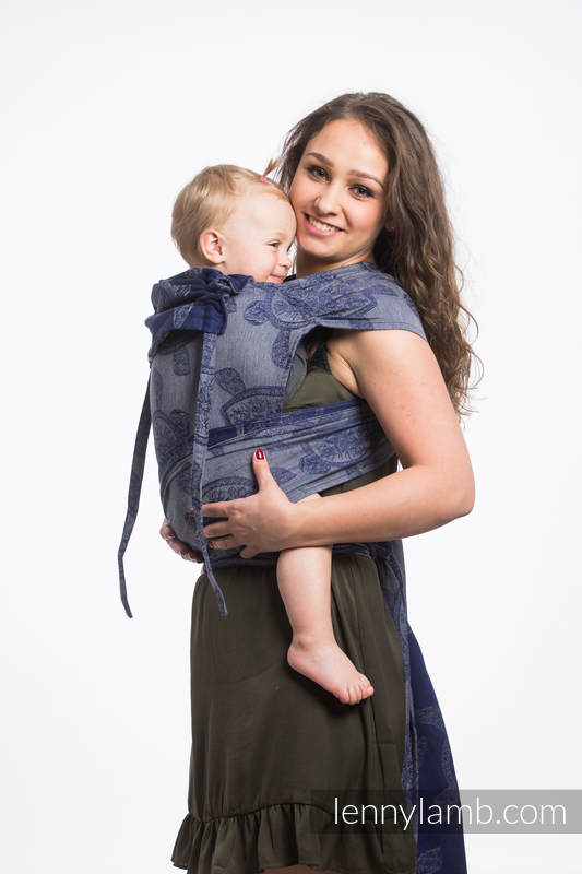 Nosidełko dla dzieci WRAP-TAI MINI, bawełna, splot żakardowy, z kapturkiem, PRZYGODA MORSKA - CICHA ZATOKA #babywearing