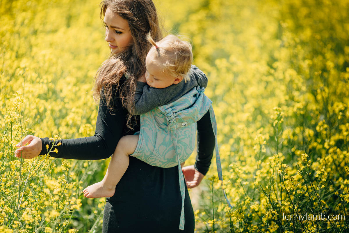 Onbuhimo SAD LennyLamb, talla toddler, jacquard - (76%Algodón, 12%Lino, 7%Seda, 5%Alpaca bebé) - TWISTED LEAVES BREATH OF SUMMER  #babywearing