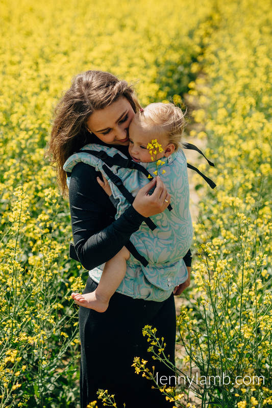 LennyUp Carrier, Standard Size, jacquard weave - (76%cotton, 12%linen, 7%silk, 5%baby alpaca) - wrap conversion from TWISTED LEAVES BREATH OF SUMMER #babywearing