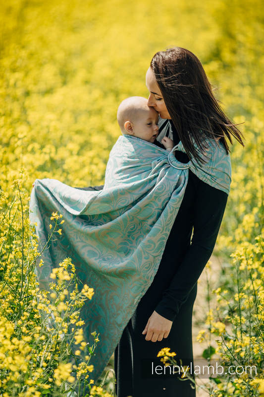 RingSling, Jacquardwebung - (76%Baumwolle, 12%Leinen, 7%Seide, 5%Baby Alpaka) - TWISTED LEAVES BREATH OF SUMMER  - long 2.1m #babywearing