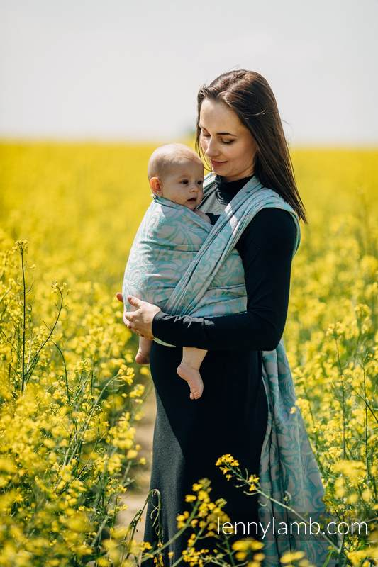 Fular, tejido jacquard (76%Algodón, 12%Lino, 7%Seda, 5%Alpaca bebé) - TWISTED LEAVES BREATH OF SUMMER - talla L #babywearing