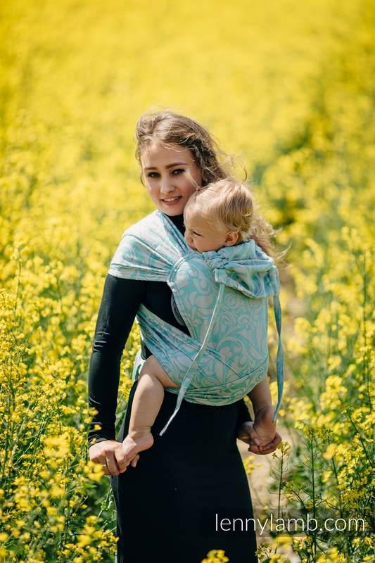 Nosidełko dla dzieci WRAP-TAI MINI, splot żakardowy, z kapturkiem - (76%bawełna, 12%len, 7%jedwab, 5% baby alpaca) - ZAKRĘCONE LIŚCIE POWIEW LATA #babywearing