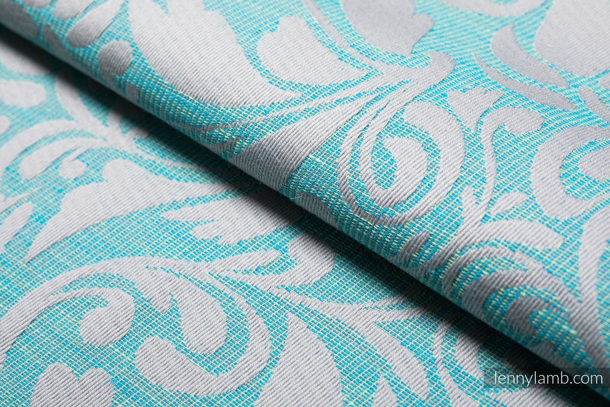 Baby Wrap, Jacquard Weave - (76%cotton, 12%linen, 7%silk, 5%baby alpaca) - TWISTED LEAVES BREATH OF SUMMER - size L #babywearing