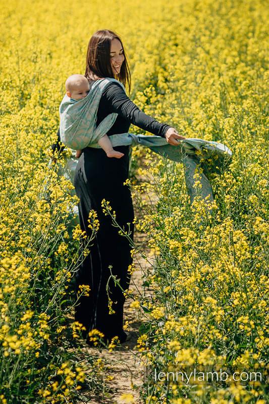 Żakardowa chusta do noszenia dzieci - (76%bawełna, 12%len, 7%jedwab, 5% baby alpaca) - ZAKRĘCONE LIŚCIE POWIEW LATA - rozmiar S #babywearing