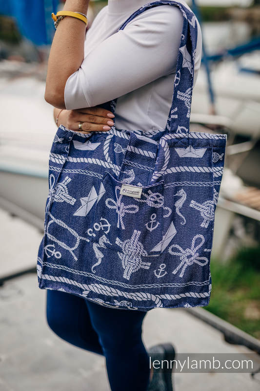 Shoulder bag made of wrap fabric (100% cotton) - SEA STORIES - standard size 37cmx37cm #babywearing