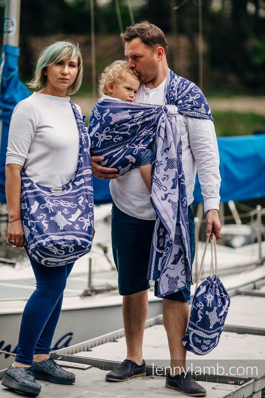 Ringsling, Jacquard Weave (100% cotton) - with gathered shoulder - SEA STORIES #babywearing
