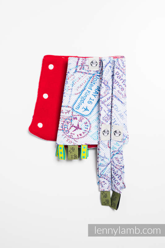 Drool Pads & Reach Straps Set, (60% cotton, 40% polyester) - AROUND THE WORLD #babywearing