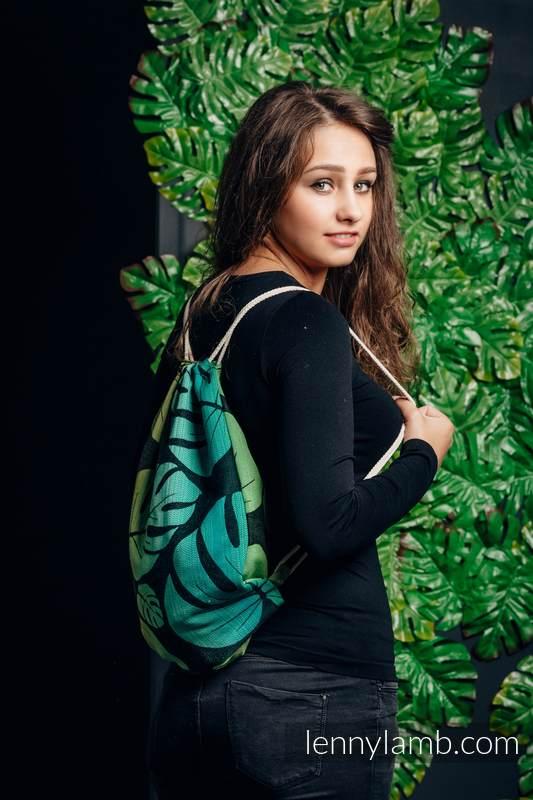 Mochila portaobjetos hecha de tejido de fular (100% algodón) - MONSTERA - talla estándar  32cm x 43cm #babywearing