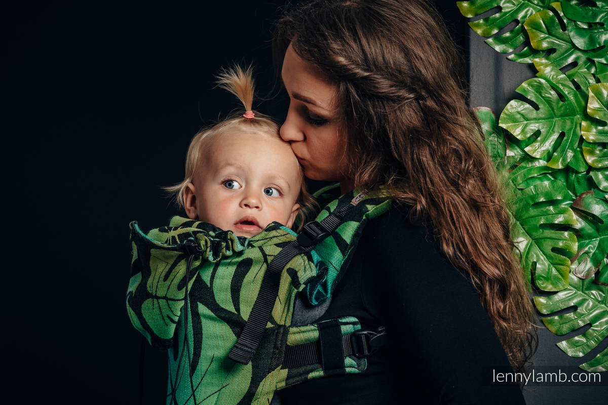 Ergonomic Carrier, Toddler Size, jacquard weave 100% cotton - MONSTERA - Second Generation #babywearing