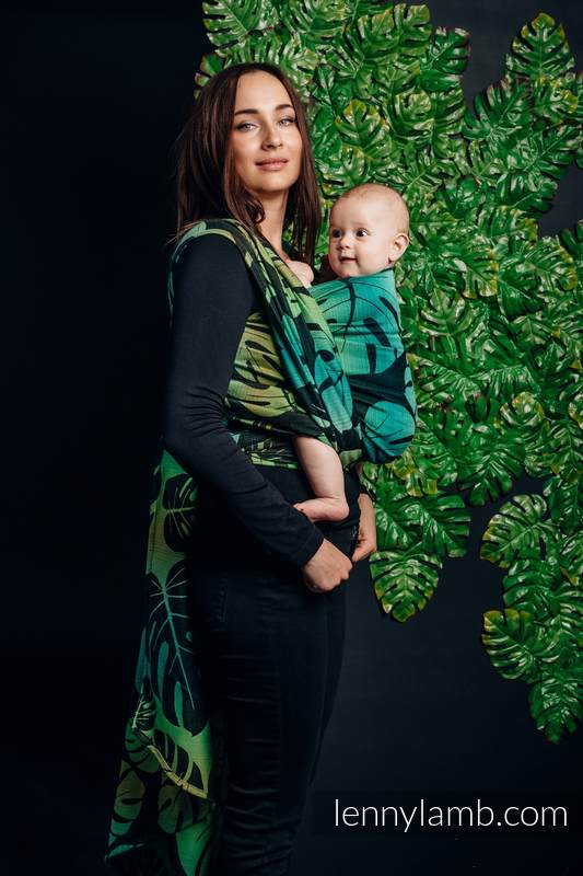 Écharpe, jacquard (100% coton) - MONSTERA - taille S #babywearing