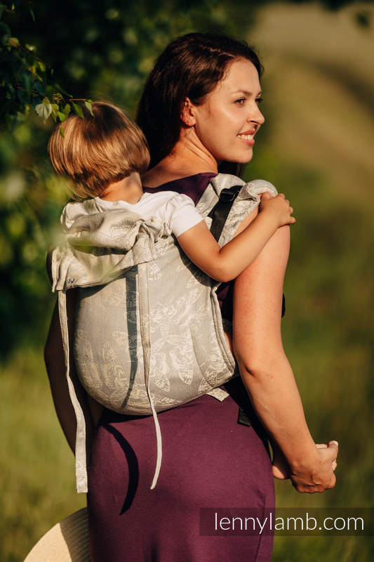 Lenny Buckle Onbuhimo baby carrier, standard size, jacquard weave (65% cotton, 35% linen) - QUEEN OF THE NIGHT - ONLY SILENCE #babywearing