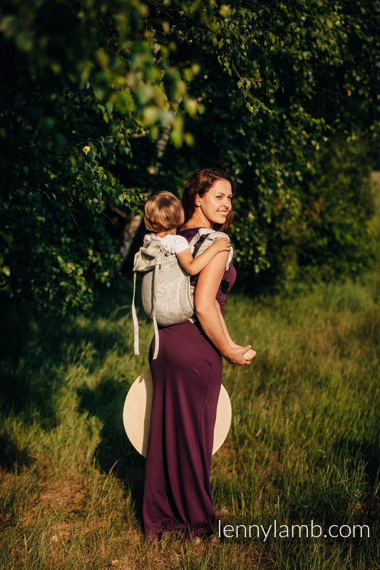 Lenny Buckle Onbuhimo baby carrier, toddler size, jacquard weave (65% cotton, 35% linen) - QUEEN OF THE NIGHT - ONLY SILENCE #babywearing