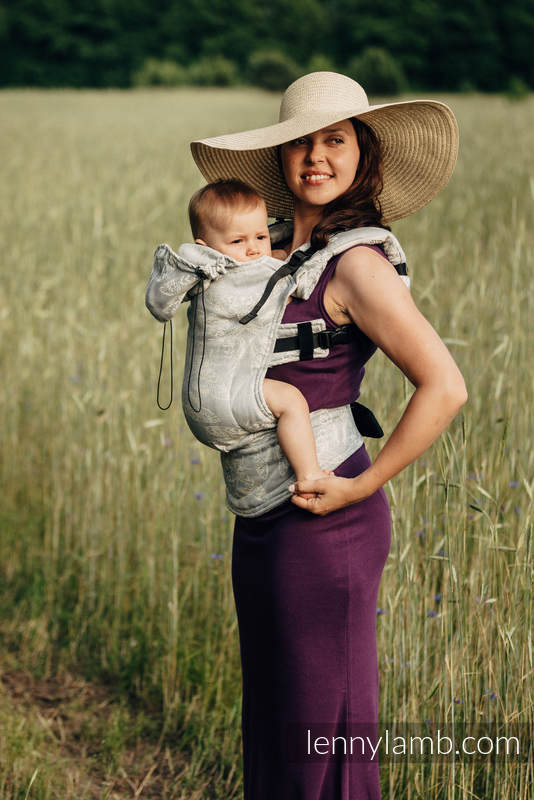 Ergonomic Carrier, Toddler Size, jacquard weave, (65% cotton, 35% linen) - QUEEN OF THE NIGHT - ONLY SILENCE, Second Generation #babywearing