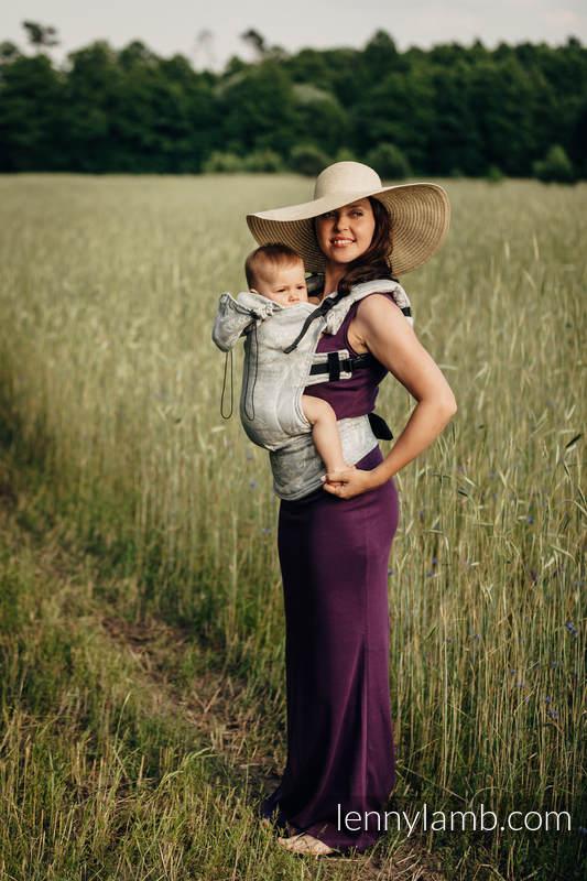 Nosidełko Ergonomiczne z tkaniny żakardowej, (65% bawełna 35% len), Baby Size, KRÓLOWA NOCY - TYLKO CISZA, Druga Generacja #babywearing