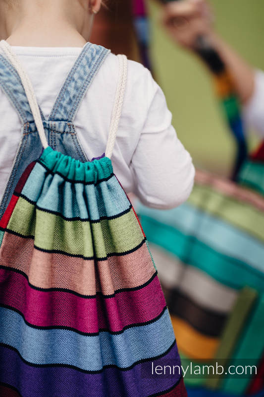 Sackpack made of wrap fabric (100% cotton) - CAROUSEL OF COLORS - standard size 32cm x 43cm #babywearing