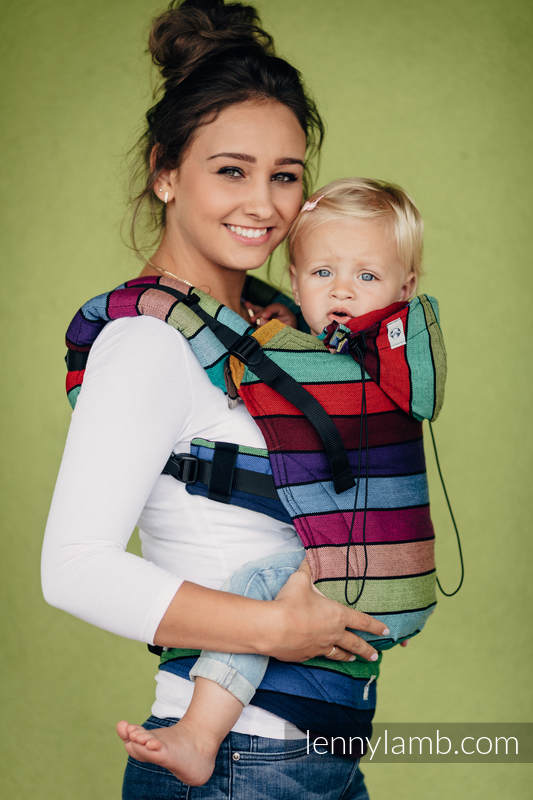 Nosidełko Ergonomiczne z tkaniny skośno krzyżowej, 100% bawełna, Baby Size - KARUZELA BARW - Druga Generacja #babywearing