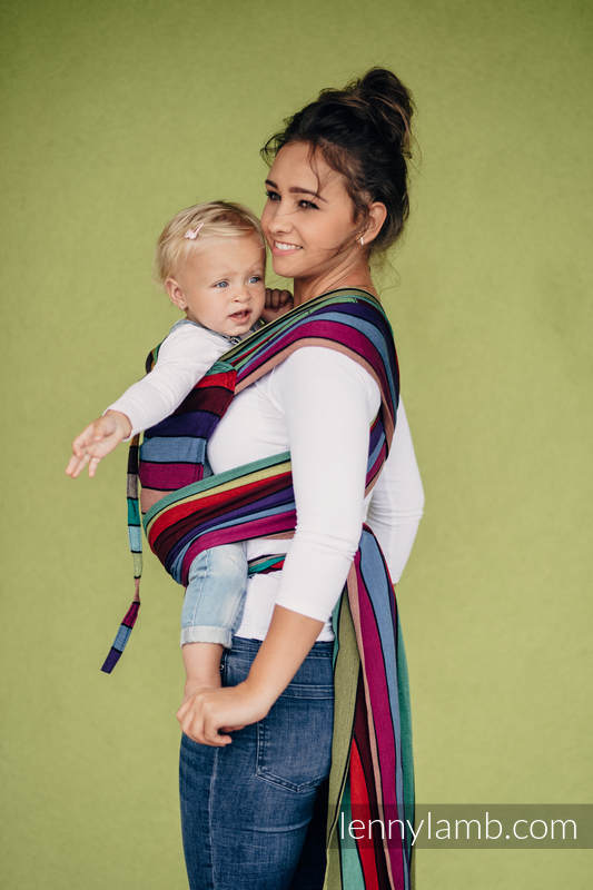 Nosidełko dla dzieci WRAP-TAI MINI, 100 % bawełna skośno-krzyżowa, z kapturkiem - KARUZELA BARW #babywearing