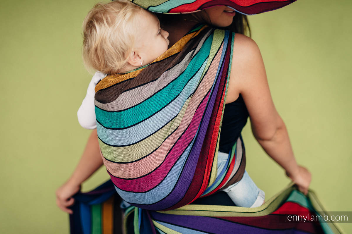 Baby Sling, Broken Twill Weave, (100% cotton) - CAROUSEL OF COLORS - size XS #babywearing