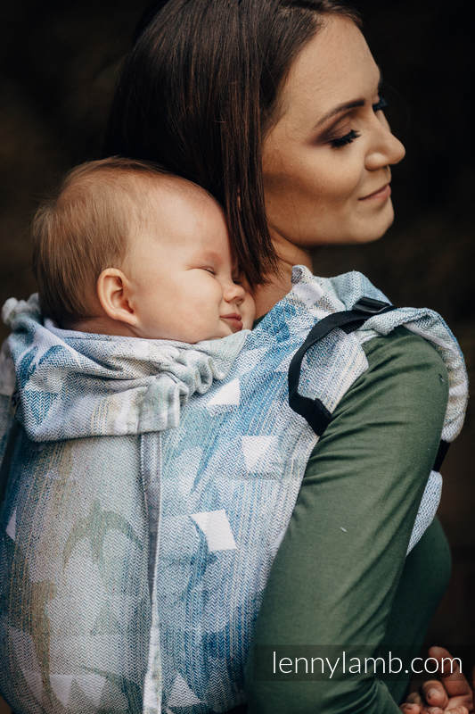 Onbuhimo SAD LennyLamb, talla estándar, jacquard - (62% algodón, 38% seda) - SWALLOWS - OVER CLOUDS #babywearing