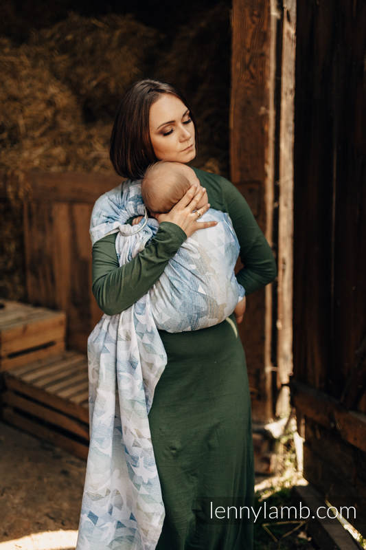 Ringsling, Jacquard Weave, with gathered shoulder - 62% cotton, 38% silk - SWALLOWS - OVER CLOUDS #babywearing