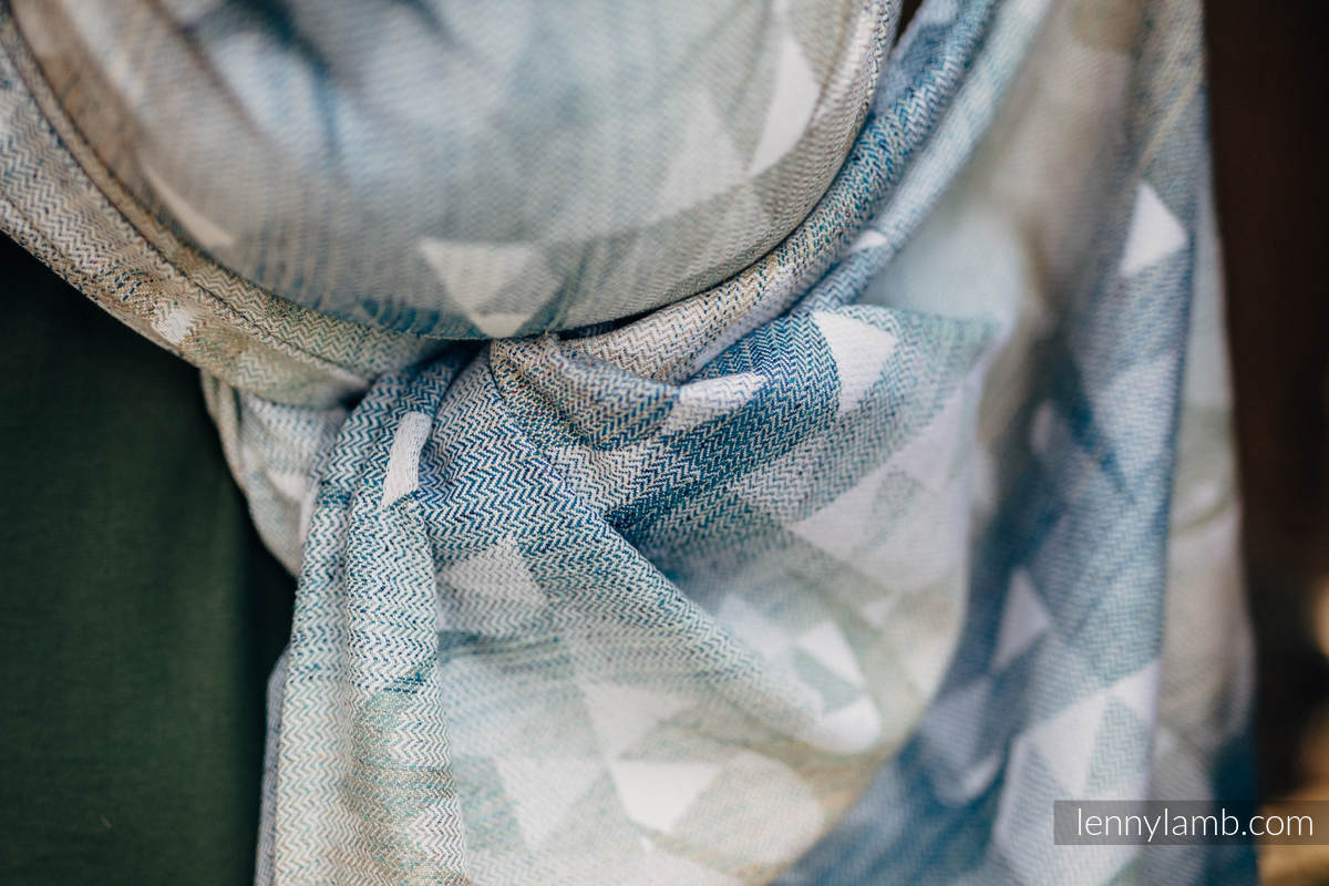 Baby Wrap, Jacquard Weave - 62% cotton, 38% silk - SWALLOWS - OVER CLOUDS - size S #babywearing