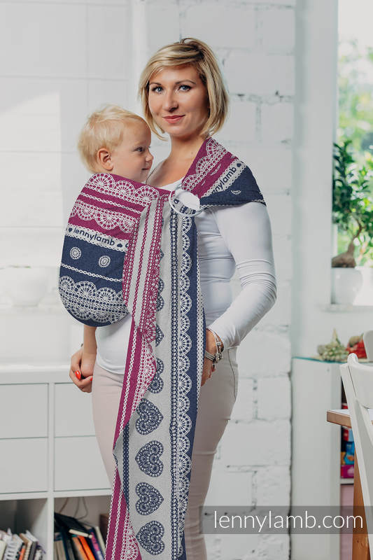 Ringsling, Jacquard Weave (100% cotton) with gathered shoulder - FOR PROFESSIONAL USE EDITION - LACE 1.0 - long 2.1m #babywearing