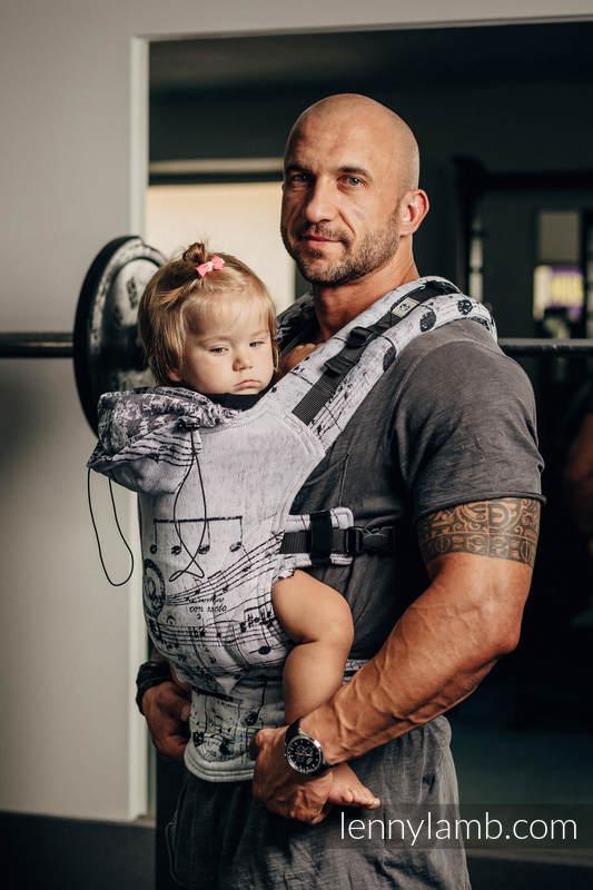 Nosidełko Ergonomiczne z tkaniny żakardowej 100% bawełna , Toddler Size, SYMFONIA KLASYCZNA  - Druga Generacja (drugi gatunek) #babywearing