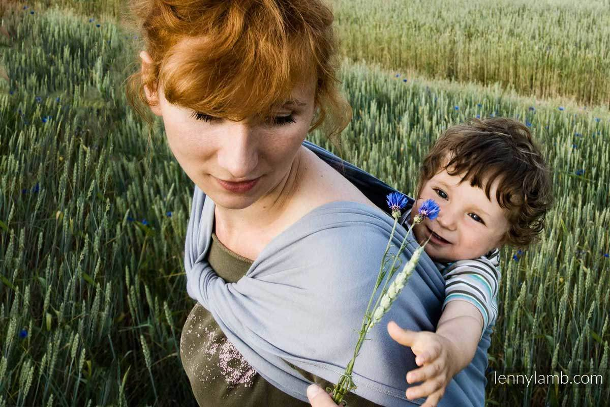 Chusta do noszenia dzieci, elastyczna - Akwamaryna - rozmiar standardowy 5.0 m #babywearing