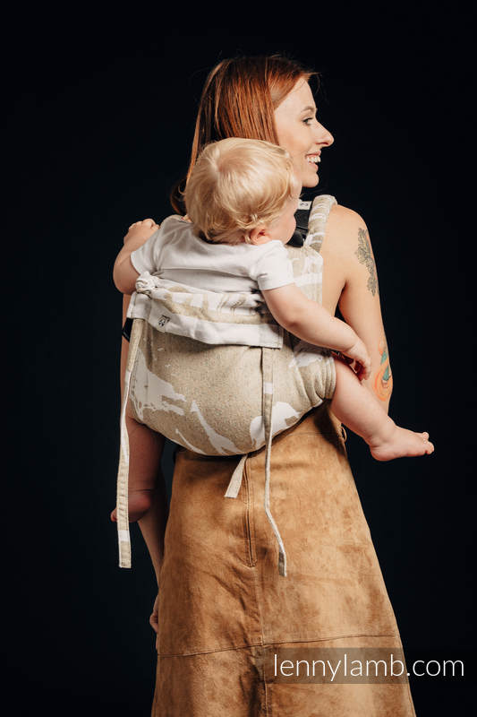 Lenny Buckle Onbuhimo, standard size, jacquard weave - (49% cotton, 51% silk) - wrap conversion from SAFARI - WESTERN DESERT  #babywearing