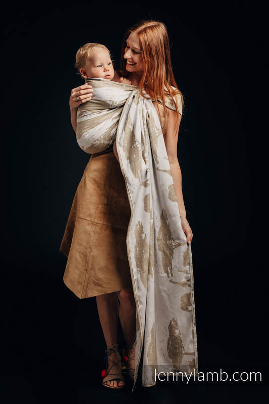 Ringsling, Jacquard Weave, with gathered shoulder, (49% cotton, 51% silk) - SAFARI - WESTERN DESERT - standard 1.8m #babywearing