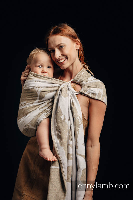 Ringsling, Jacquard Weave, with gathered shoulder, (49% cotton, 51% silk) - SAFARI - WESTERN DESERT #babywearing