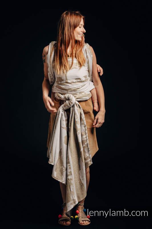 Baby Wrap, Jacquard Weave - (49% cotton, 51% silk) - SAFARI - WESTERN DESERT - size XL #babywearing