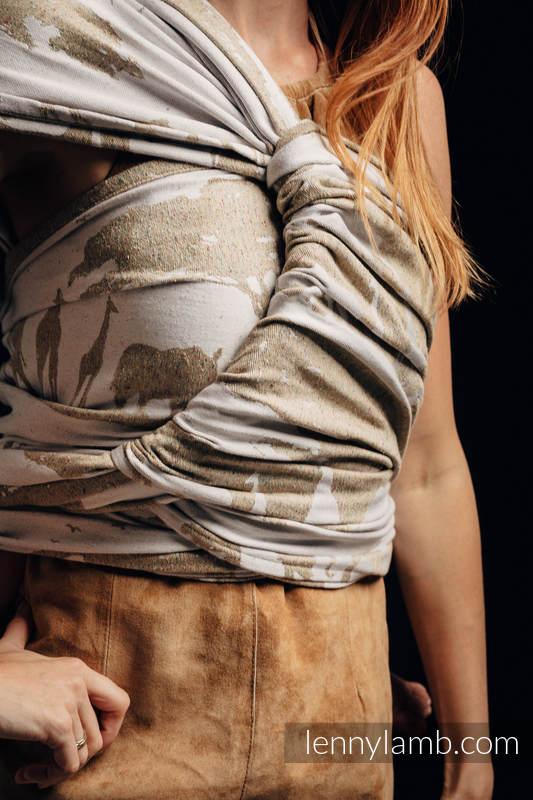 Baby Wrap, Jacquard Weave - (49% cotton, 51% silk) - SAFARI - WESTERN DESERT - size S #babywearing