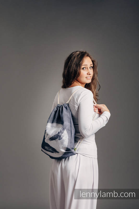 Sackpack made of wrap fabric (100% cotton) - MOONLIGHT EAGLE  - standard size 32cmx43cm #babywearing