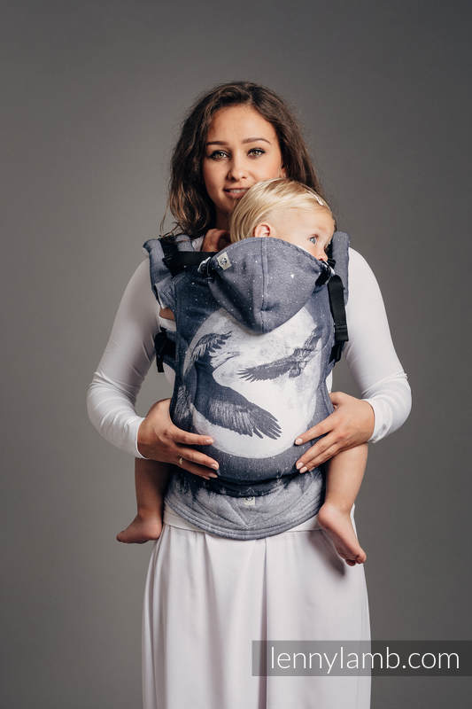 Ergonomic Carrier, Baby Size, jacquard weave 100% cotton - MOONLIGHT EAGLE  - Second Generation #babywearing