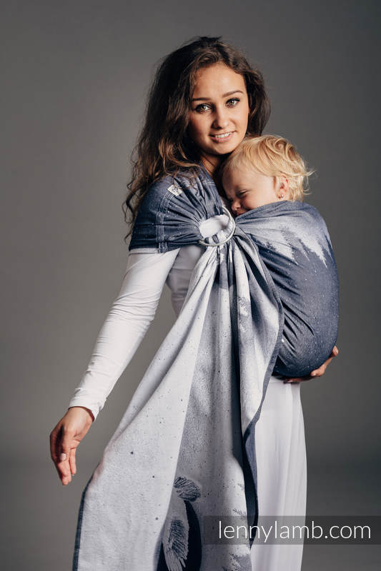 Ringsling, Jacquard Weave (100% cotton), with gathered shoulder - MOONLIGHT EAGLE - standard 1.8m #babywearing