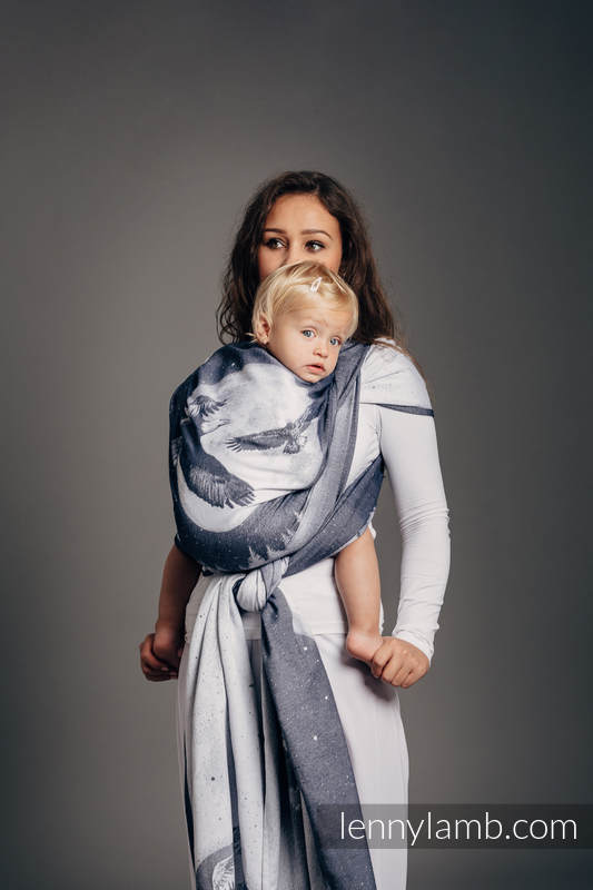 Baby Wrap, Jacquard Weave (100% cotton) - MOONLIGHT EAGLE  - size XS #babywearing