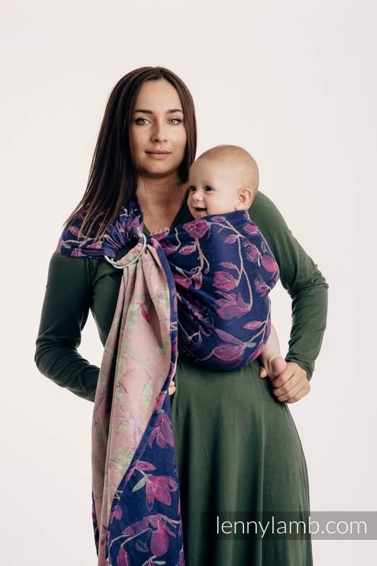 Żakardowa chusta kółkowa do noszenia dzieci, 100% bawełna, ramię bez zakładek - TAJEMNICZA MAGNOLIA - long 2.1m (drugi gatunek) #babywearing