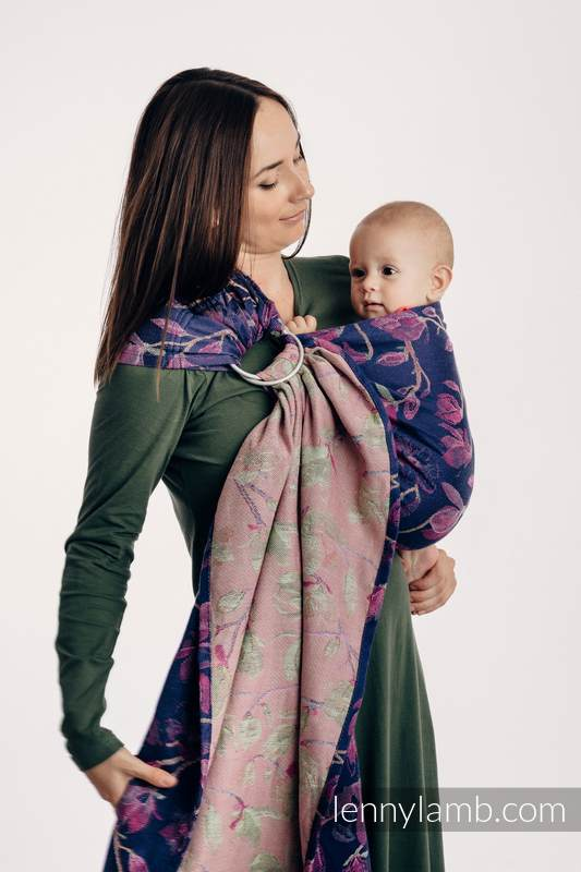 Ringsling, Jacquard Weave (100% cotton) - with gathered shoulder - THE SECRET MAGNOLIA  - long 2.1m (grade B) #babywearing