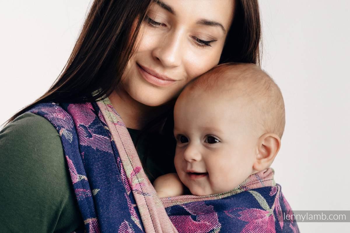 Żakardowa chusta do noszenia dzieci, 100% bawełna - TAJEMNICZA MAGNOLIA - rozmiar M #babywearing